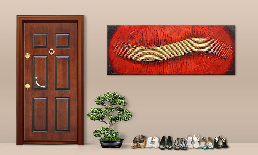 Hand painted painting Golden Wing 150x60