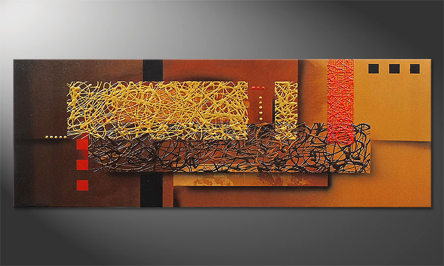 Hand painted painting Liquid Gold in 150x55cm