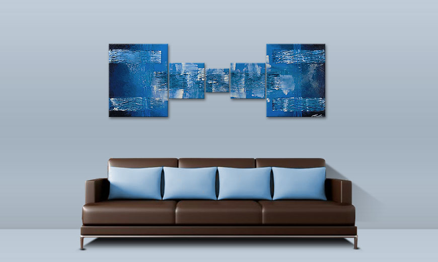 Hand painted painting Blue Waves 180x60cm