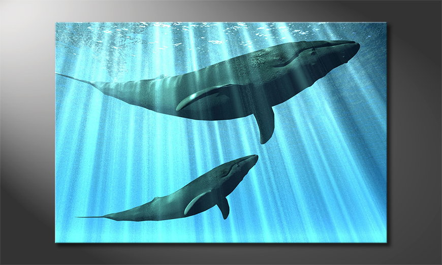 Blue-canvas-print-Whales