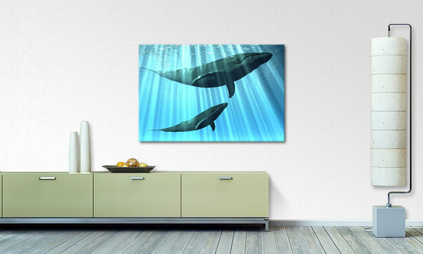 Blue canvas print Whales