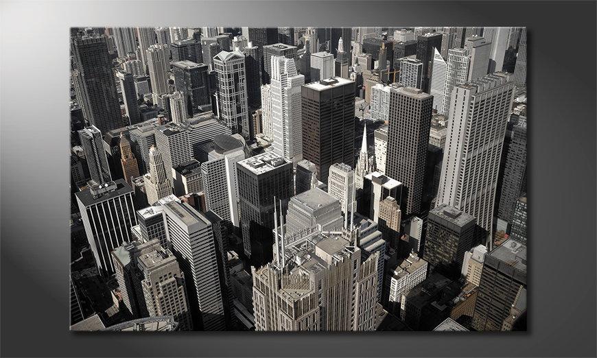 Modern art print City of Chicago