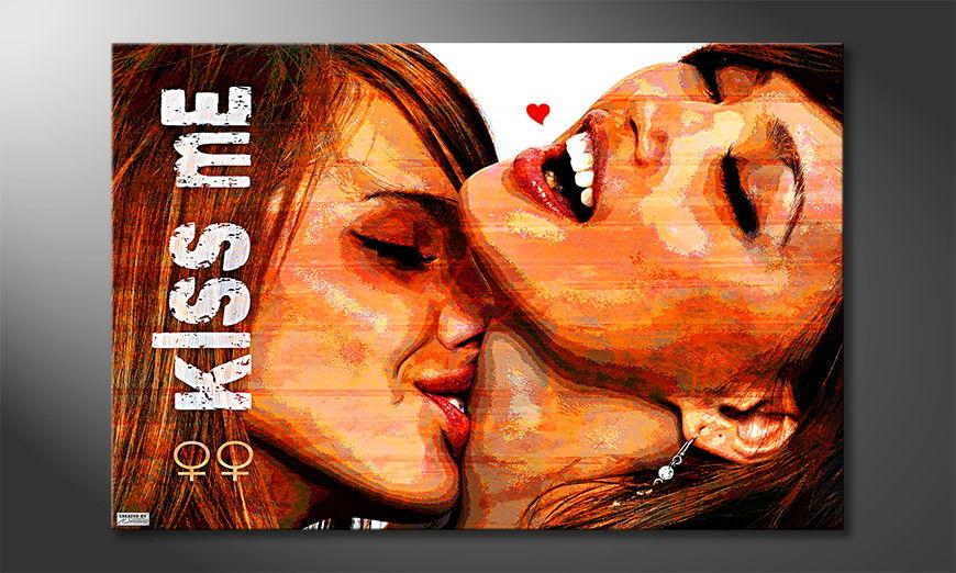 Modern art print Kiss Me