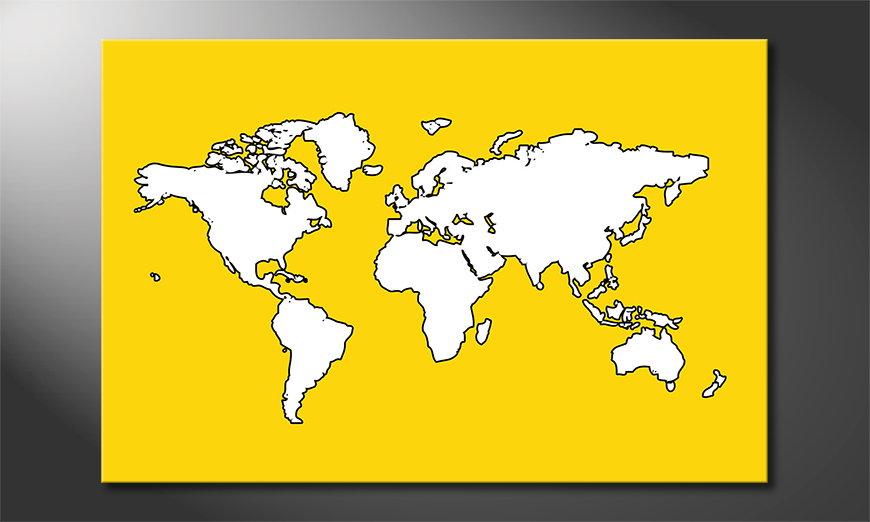 Modern art print Map of the World