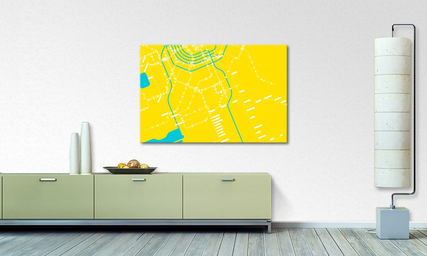 Modern art print Metro Amsterdam in 6 sizes