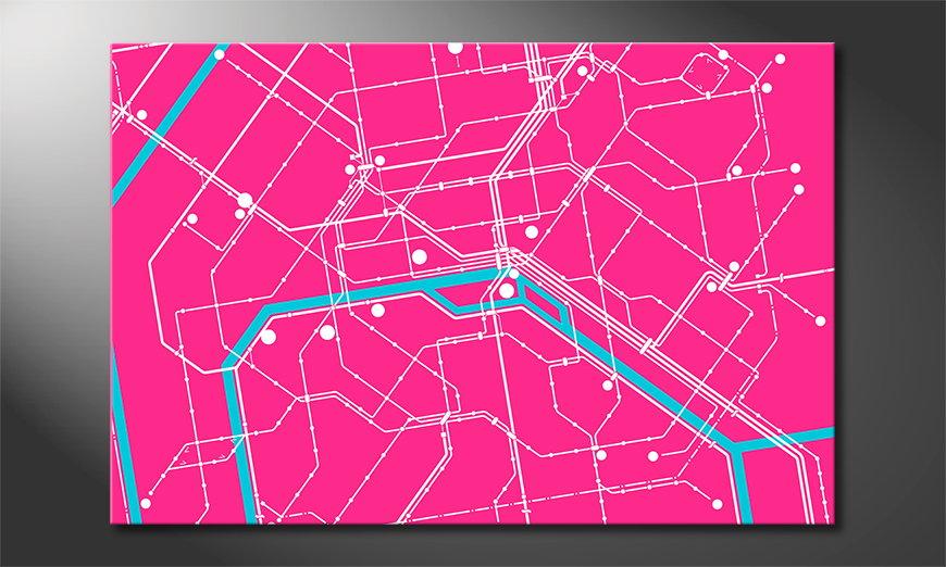 Modern art print Metro Paris