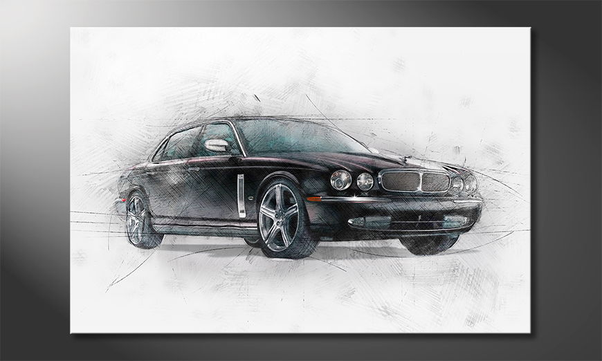 Modern car on canvas: Black Jag