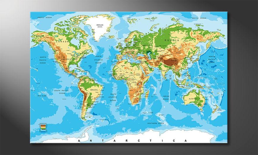 The modern art print Physical Worldmap