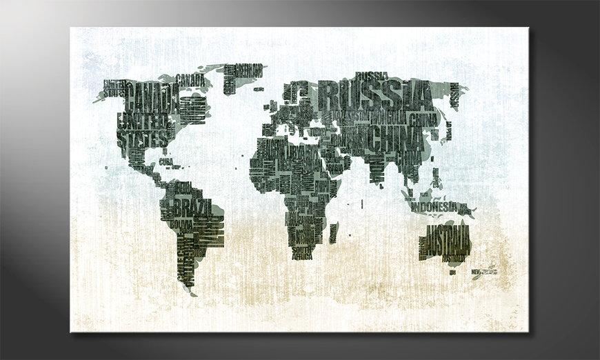 The modern art print Worldmap 1