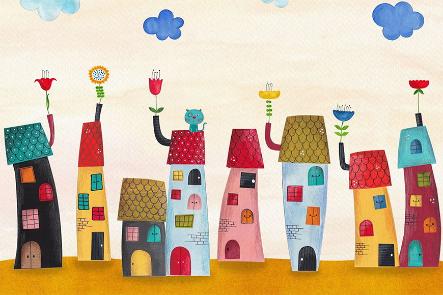 Photo-wallpaper Colourful town from 120x80cm