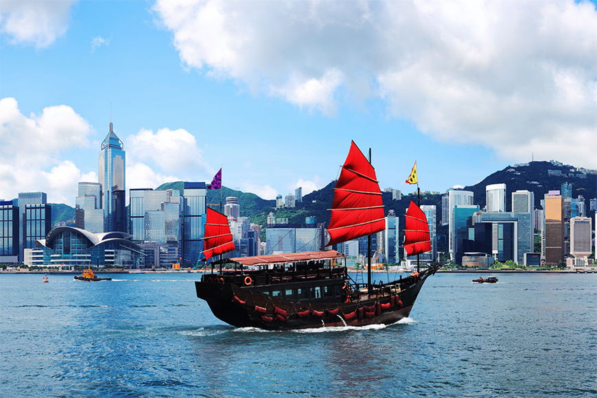 Photo wallpaper Hongkong Boat from 120x80cm
