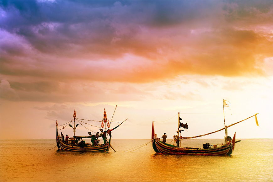 Photo-wallpaper Traditional fishermen in 6 Größen