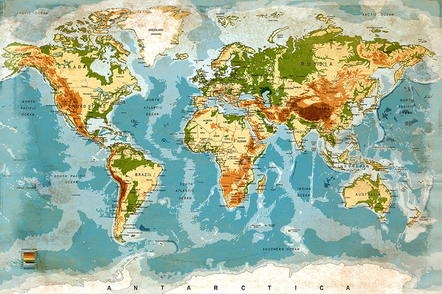Photo-wallpaper Used Worldmap from 120x80cm