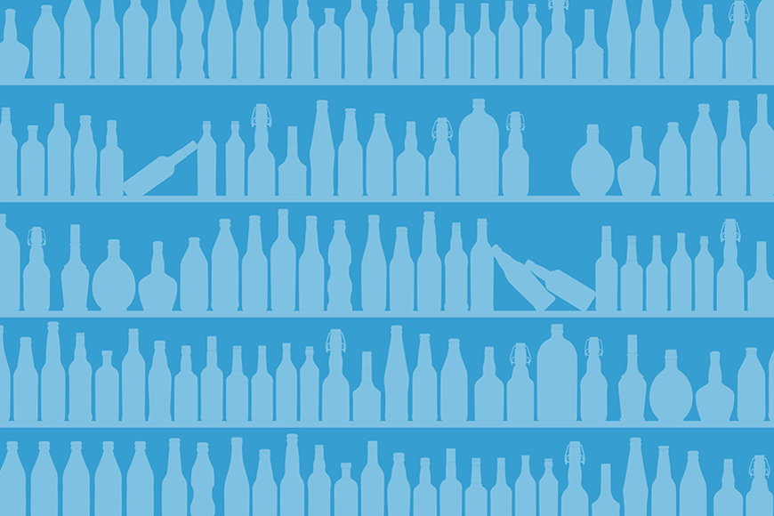 Wallpaper Blue Bottles from 120x80cm
